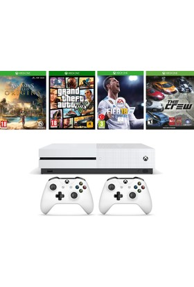 Xbox One S 500GB Konsol + 2. Kol + A.C Origins + Gta 5 + Fifa 18 + The Crew