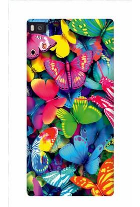 Kapakolur Huawei P8 Renkli Kelebek Kapak Kılıf + Ekran Koruyucu Cam