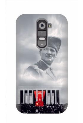 Kapakolur LG G2 Atatürk Baskılı Kapak Kılıf + Ekran Koruyucu Cam