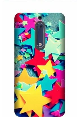 Kapakolur Nokia 5 Renkli Baskılı Kapak Kılıf + Ekran Koruyucu Cam