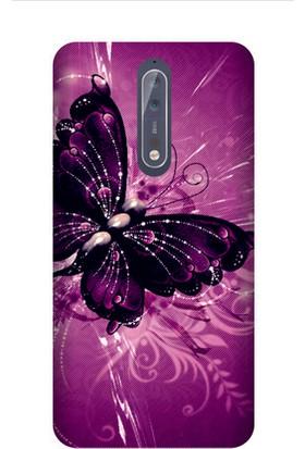 Kapakolur Nokia 8 Renkli Kelebek Kapak Kılıf + Ekran Koruyucu Cam
