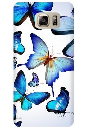 Kapakolur Samsung Note 5 Kelebek Baskılı Kapak Kılıf + Ekran Koruyucu Cam