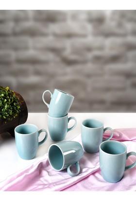 Keramika 6 Adet 9 Cm Bulut Kupa Mavi Cam Göbeği 410