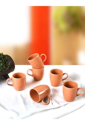 Keramika 6 Adet 9 Cm Bulut Kupa Turuncu Cam Göbeği 209