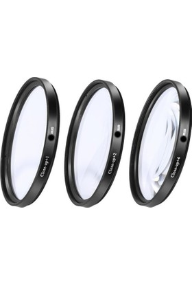 Dhd Canon 18-55mm Lens için 58mm Close Up +1 +2 +4 Macro Makro 3 lü Filtre Seti