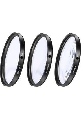 Dhd Canon 50mm F1.8 II Lens için 52mm Close Up +1 +2 +4 Macro Makro 3 lü Filtre Seti