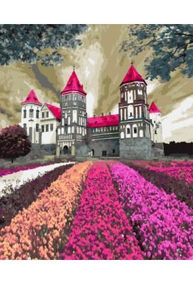Eron Sanat Renkli Çiçekler Ve Şato Numaralı Boyama Seti Zorluk Seviyesi 4