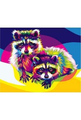 Eron Sanat Renkli Rakunlar Numaralı Boyama Seti Zorluk Seviyesi 3