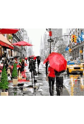Eron Sanat Kırmızı Şemsiyeli Yürüyen Çift Nyc Numaralı Boyama Seti Zorluk Seviyesi 4