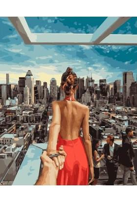 Eron Sanat Kırmızı Elbiseli Kadın Numaralı Boyama Seti Zorluk Seviyesi 3