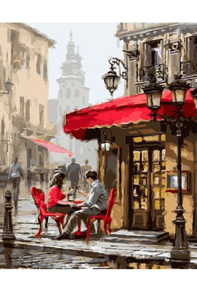 Eron Sanat Cafe De Oturan Çift Numaralı Boyama Seti Zorluk Seviyesi 3