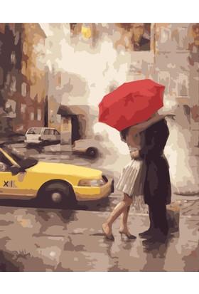 Eron Sanat Şemsiyeli Çift Ve Taksi Numaralı Boyama Seti Zorluk Seviyesi 3