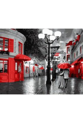 Eron Sanat Kırmızı Dükkanlı Sokak Numaralı Boyama Seti Zorluk Seviyesi 3