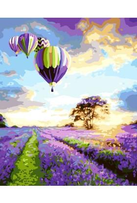 Eron Sanat Mor Çiçekler Ve Balonlar Numaralı Boyama Seti Zorluk Seviyesi 4