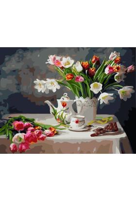 Eron Sanat Vazo Çiçekler Ve Çay Numaralı Boyama Seti Zorluk Seviyesi 4