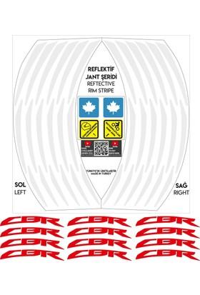 Kırmızı CBR Yazılı 3 Parçalı Reflektif Beyaz Jant Şeridi