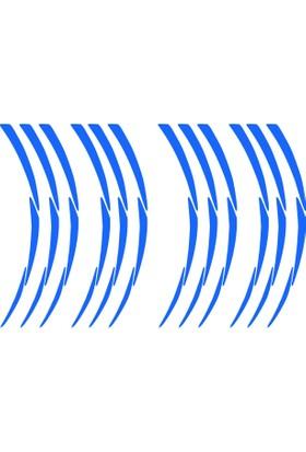 Beyaz Pcx Yazılı 3 Parçalı Reflektif Mavi Pcx Jant Şeridi