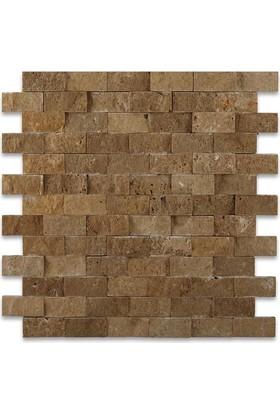 Markataş Kahverengi Doğal Taş Traverten Patlatma Mozaik