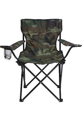 Tekzen Katlanır Kamp Sandalyesi Kamuflaj Desenli (Taşıma Çantalı)