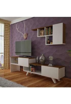 Arnetti Gökçe Tv Ünitesi Beyaz Ceviz