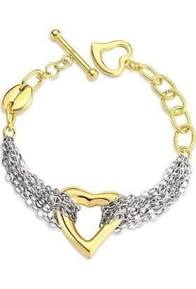 Lochers Kalp Desenli Zincirli Çelik Bileklik