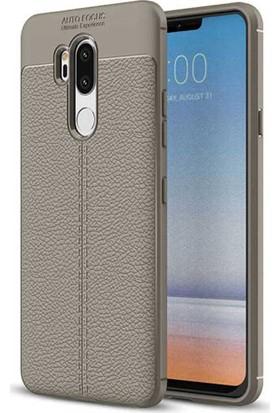 CoverZone LG G7 ThinQ Deri Görünümlü Silikon Kılıf Kırmızı