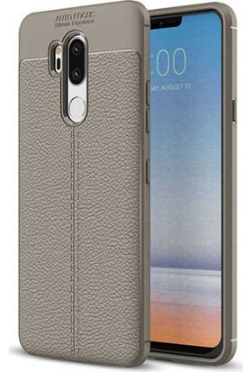 CoverZone LG G7 ThinQ Deri Görünümlü Silikon Kılıf Kırmızı + Nano Ekran Koruma