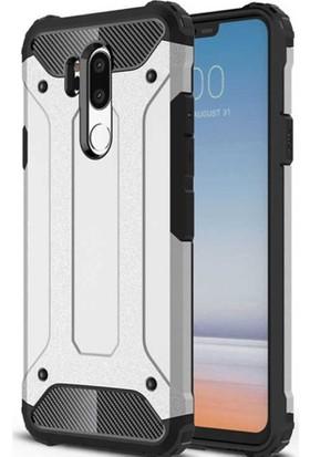 CoverZone LG G7 ThinQ Kılıf Shockproof Zırh Koruma Gümüş