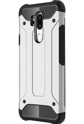 CoverZone LG G7 ThinQ Kılıf Shockproof Zırh Koruma Gümüş + Nano Ekran Koruma