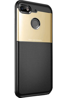 CoverZone General Mobile Gm 8 Kılıf Lüks Yumuşak TPU Silikon Altın + Temperli Ekran Koruma