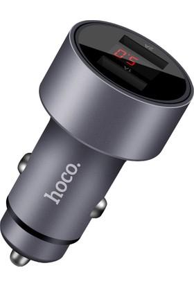 Hoco Z9 Dijital Çift USB Çakmaklık Şarj Cihazı - Gri