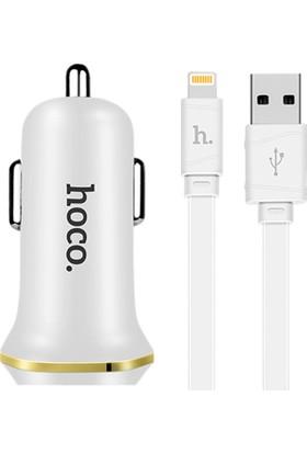 Hoco Z1 Araç İçi Çakmaklık Apple Şarj Cihazı Seti - Beyaz
