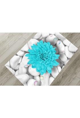 Cici Halı Dahliya Çiçek Beyaz Taş Lastikli Halı Örtüsü-120x180