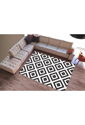 Cici Halı Dekoratif Çizgiler Siyah Beyaz Lastikli Halı Örtüsü-120x180