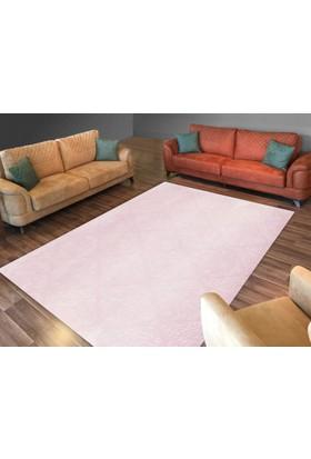 Cici Halı Açık Pembe Soft Beyaz Desen Lastikli Halı Örtüsü-120x180