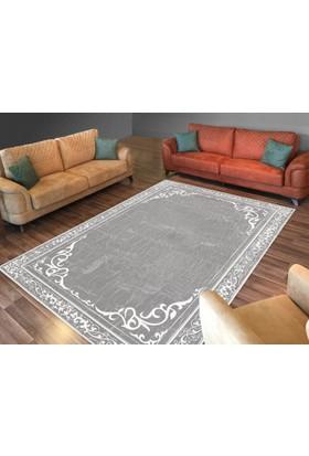 Cici Halı Koyu Gri Zemin Beyaz Çizgi Desenli Lastikli Halı Örtüsü-120x180