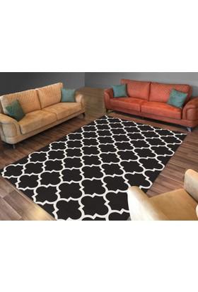 Cici Halı Siyah Üzerine Beyaz Çizgi Lastikli Halı Örtüsü-120x180