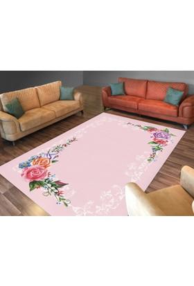 Cici Halı Pembe Zemin Köşe Çiçek Desenli Lastikli Halı Örtüsü-120x180