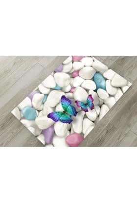 Cici Halı Renkli Taş ve Kelebekler Lastikli Halı Örtüsü-120x180