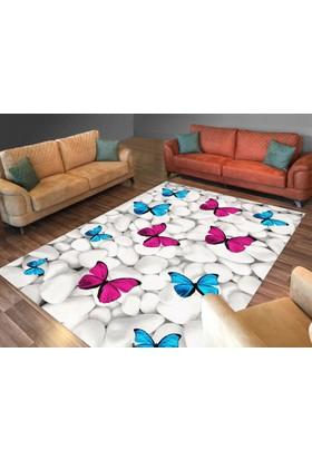 Cici Halı Beyaz Taş Pembe Mavi Kelebek Lastikli Halı Örtüsü-120x180
