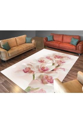 Cici Halı Pembe Tonlarında Büyük Çiçek Lastikli Halı Örtüsü-120x180