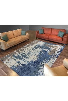 Cici Halı Mavi Kahve Alaca Eskitme Lastikli Halı Örtüsü-120x180