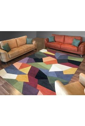 Cici Halı Renkli Geometrik Şekiller Lastikli Halı Örtüsü-120x180