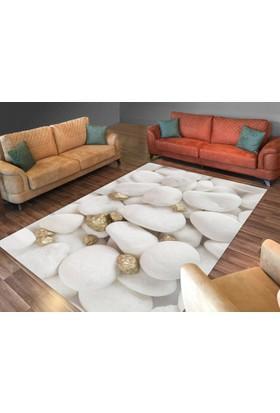 Cici Halı Beyaz Taş Altın Parçalı Lastikli Halı Örtüsü-120x180