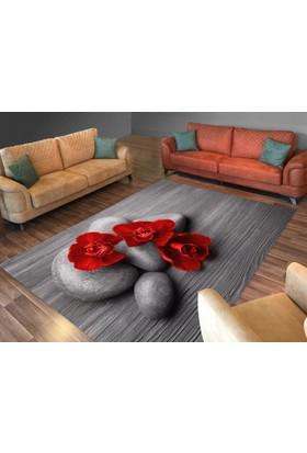 Cici Halı Kırmızı Çiçek Koyu Zemin Lastikli Halı Örtüsü-120x180