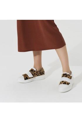 Butigo Contessa01Z89Z Beyaz Leopar Kadın Sneaker Ayakkabı