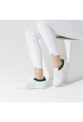 Butigo Rio*01Z61Z Beyaz Koyu Yeşil Kadın Sneaker Ayakkabı