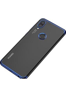 Case 4U Huawei P20 Lite Kılıf Lazer Kaplamalı Şeffaf Silikon Kılıf - Mavi