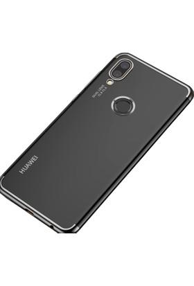 Case 4U Huawei P20 Lite Kılıf Lazer Kaplamalı Şeffaf Silikon Kılıf - Gümüş