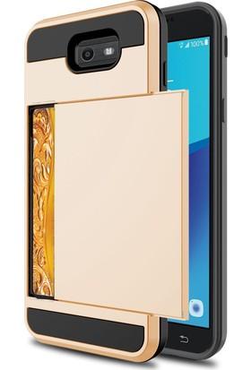 Case 4U Samsung Galaxy J7 Prime Kılıf Kart Tutucu Sürgülü Çift Katmanlı Tam Koruyan Sert Arka Kapak - Altın
